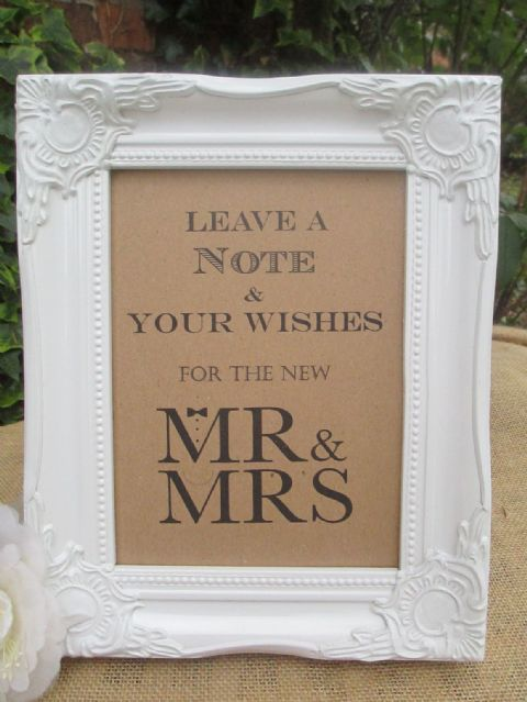 Wedding Wish Tree Sign Mr & Mrs Wooden Vintage Frame Bow Tie & Pearls